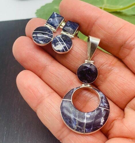 TAXCO MEXICO Earrings Pendant set Blue Sodalite 950 Sterling Silver t>925