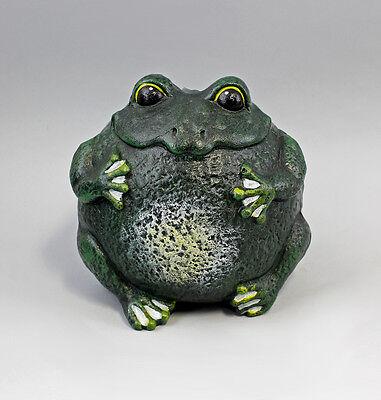 9937586 Cast Iron Figure Sculpture Large round Frog Green 20x17x17cm
