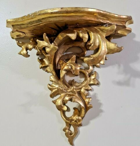 "Italian Florentine Rococo Gilt LARGE wood Wall Bracket Shelf  15"" long Acanthus"
