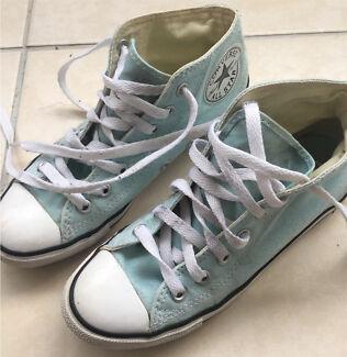 fccd13f511a9 NEAR NEW Converse hi-top light blue - women s size 5