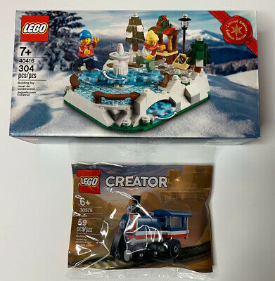 New Lego Holiday Christmas Limited Edition Ice Skating Rink 40416 Train 30537