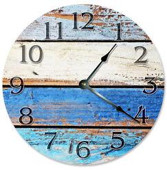 RUSTIC BEACHY COLORED Wood Clock - Large 10.5 Wall Clock - 2271