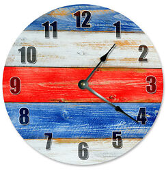 RED WHITE And BLUE Wood Grain Clock - Large 10.5 Wall Clock - 2274