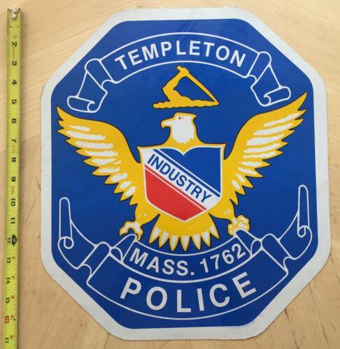 TEMPLETON MASS  EST. 1762 POLICE COP CAR DOOR SHIELD  DECAL MASSACHUSETTS MA *