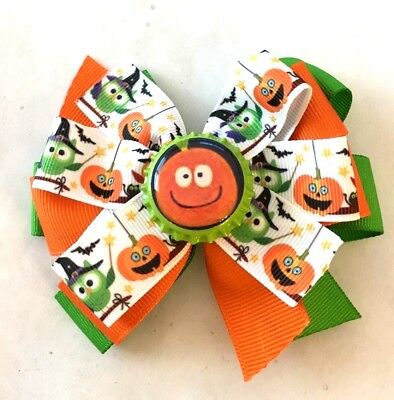 Beautiful Halloween Pumpkin with smiley face Inspired Hair Bow - Smiley Face Pumpkin