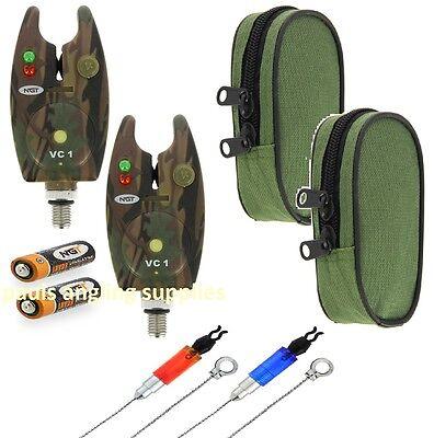 2 x Camo Electronic Carp Fishing Bite Alarms & Bobbins ,Indicators For Rod Pod