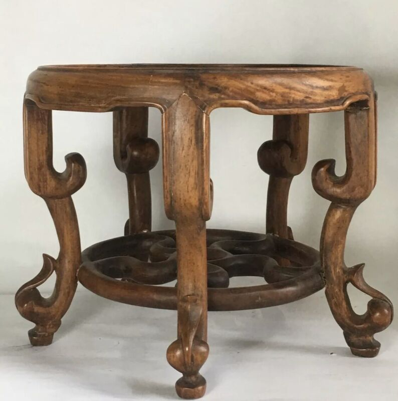 Vintage Antique Chinese Carved huanghuali Round Display Table Stand Large