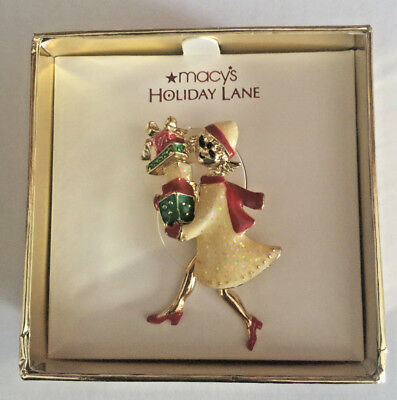 New Macy's Holiday Lane Christmas Shopping Girl Holding Packages Pin Brooch