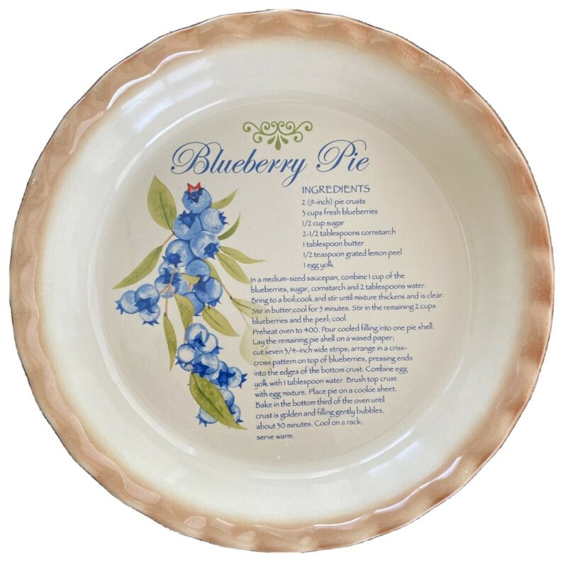 "NANTUCKET BLUEBERRY 10"" PIE PLATE WITH RECIPE & FLUTED EDGES (Near Mint)"