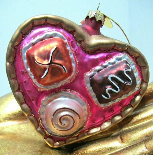 SCF Hand Painted Glass Christmas Heart Ornament Chocolate Sweets