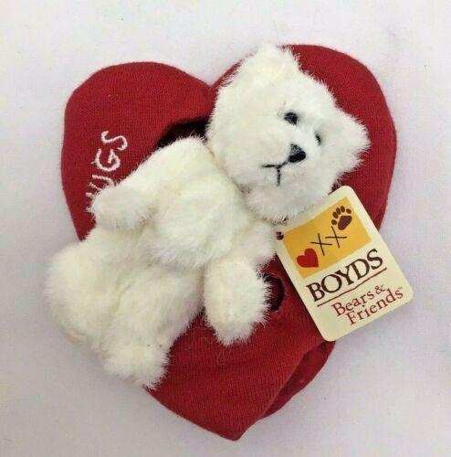 "Red Heart White Teddy Bear Hugs Valentine Romance Love NWT Boyd's Plush 5"" Toy"