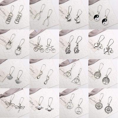 80s 90s Retro Fashion Charms Tibetan Silver Drop Dangle Earrings hook Jewelry