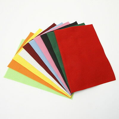 Pack of 10 Coloured Craft Wool Blend Felt Fabric 20 x 30 cm x 2mm Thick Material
