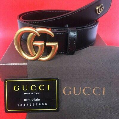 Details of Gucci Black Leather Double G Buckle Belt 110CM