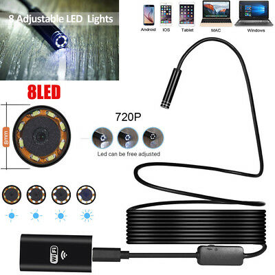 For Cell Phone 15m Wifi 8led Ip67 Endoscope 8mm Hd Borescope Inspection Camera