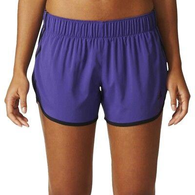 New adidas Women's Running Purple M10 3 Stripes Woven Shorts 3