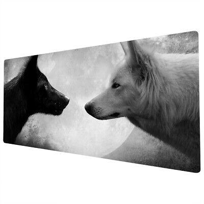 90x40cm Extra Large Xxl Mouse Mat Pad Full Desk White Black Wolves Moon