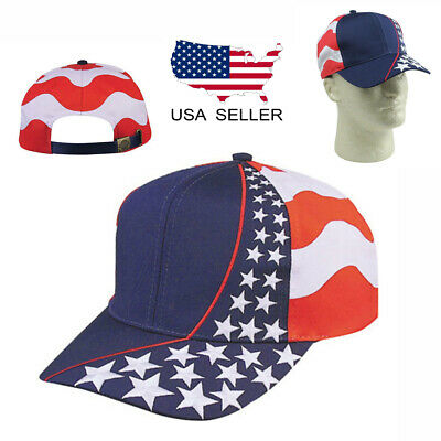 Cotton Twill Baseball Cap (USA American Patriotic Flag Stars 6 Panel Cotton Twill Election Baseball Hat Cap )