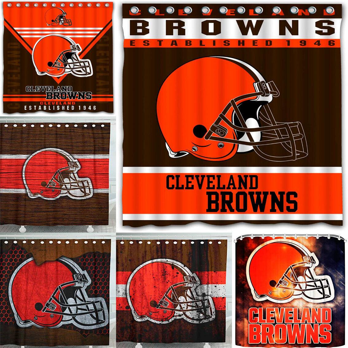 "Cleveland Browns Team 72 x72"" Waterproof Fabric Shower Curta"