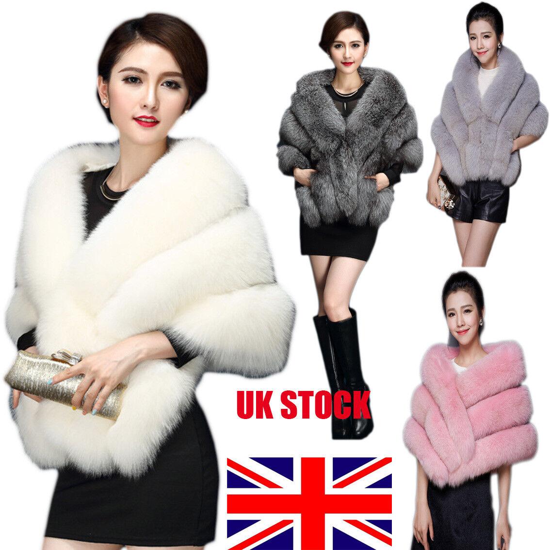 UK Bridal Faux Mink Fur Shawl Wrap Shrug Warm Coat Wedding/&Dress Stole Cocktail