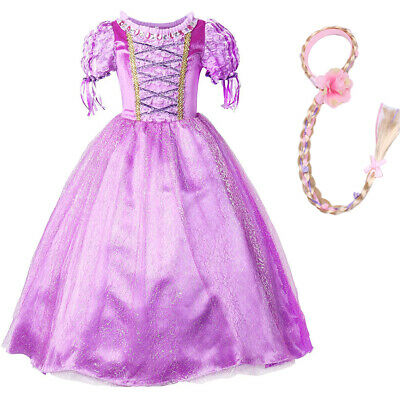Mädchen Prinzessin Cinderella Rapunzel Dress Up Kinder Hochzeit Kostüm Perücke