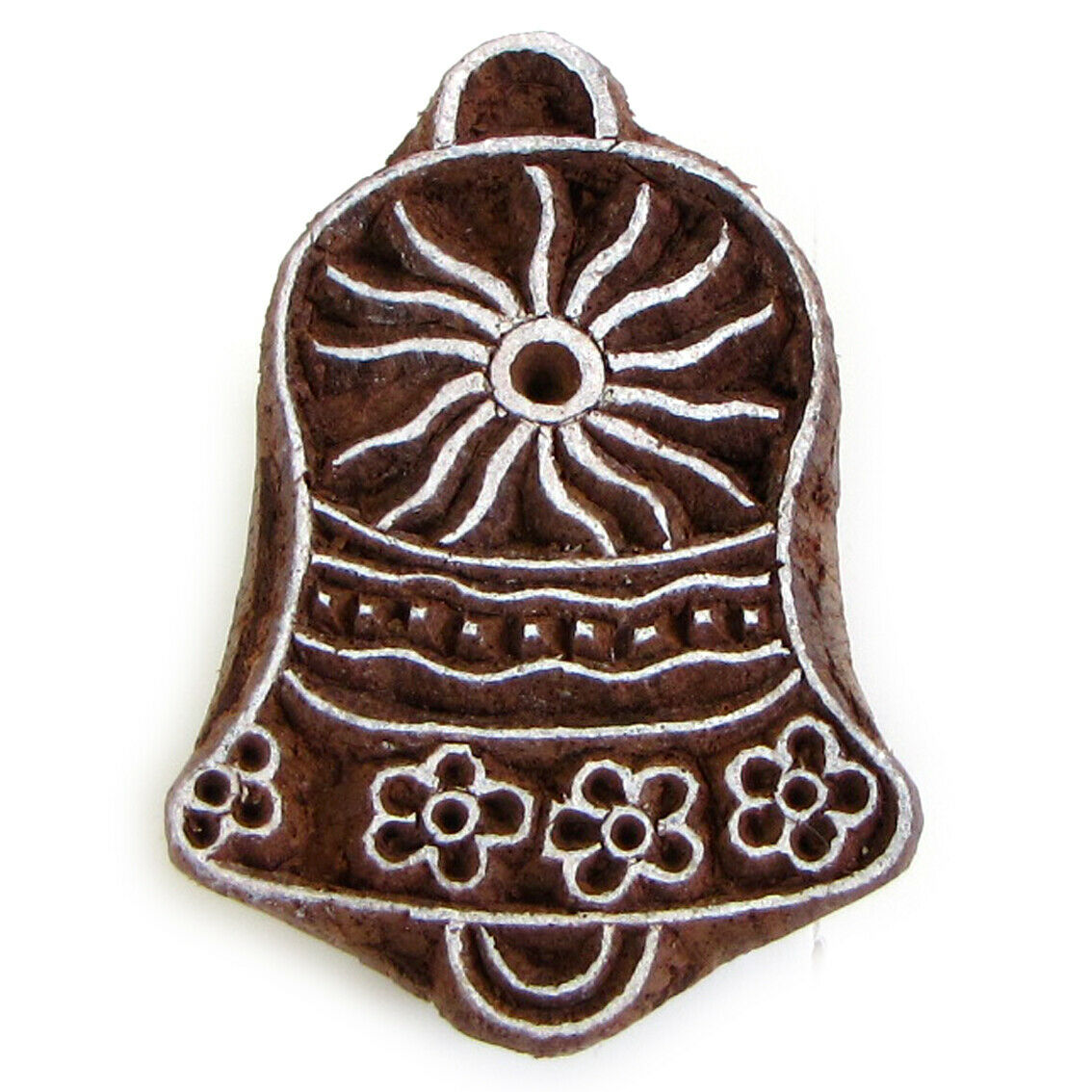 Christmas Bell 2in Ink Stamp Paper Craft Hand Carved India Wood Block Printing - $8.99