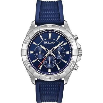 Bulova Men's Quartz Chronograph Multi Dial Blue Silicone Band 42mm Watch 96A214