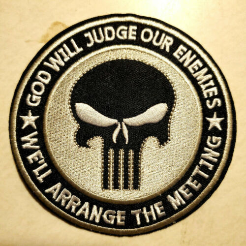 """Punisher """"God Will Judge""""  4"""" Embroidered Patch- USA Mailed (PUPA-06)"""