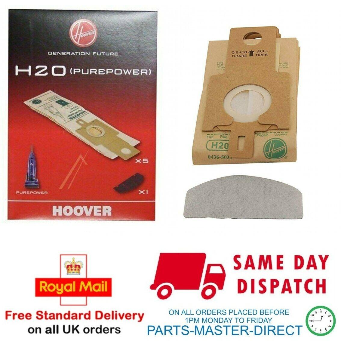 paquete de 5 Electruepart H20 Tipo Aspiradora Bolsas de polvo para Hoover Purepower Series