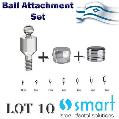 Lot X 10 Set Dental Implant Titanium Ball Attachment Abutment Silicon Metal Cap