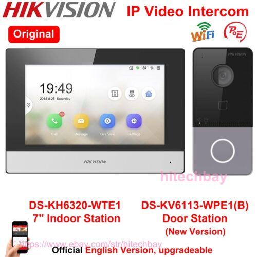 "Hikvision IP Video Intercom DS-KV6113-WPE1(B) Doorbell, 7"" LCD Monitor, WiFi PoE"