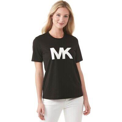 NWT Michael Kors Cotton Studded MK Logo T-Shirt, Black, Sz XS