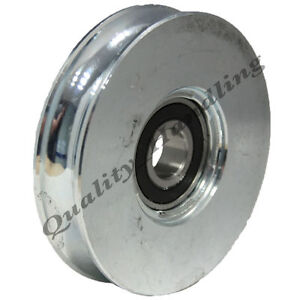 Sliding gate wheel pulley 200mm round groove steel double for Roulement porte coulissante