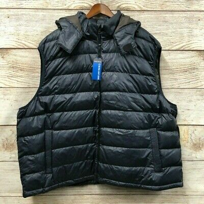 "Nautica Down Puffer Vest Mens 3X (64"" Chest) Blue Stripe Removable Hood New"