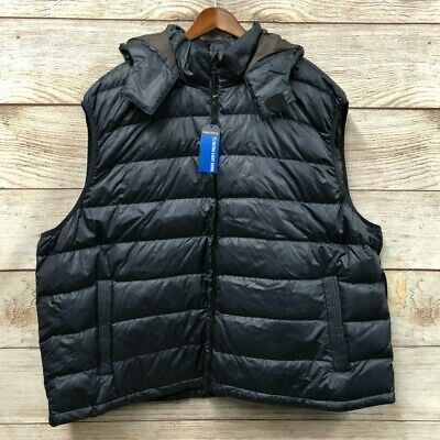 "Nautica Down Puffer Vest Mens 2X (60"" Chest) Blue Striped Removable Hood New"
