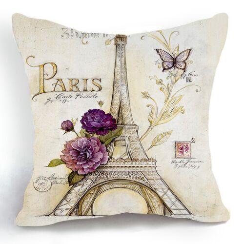 Retro Vintage Sketch Eiffel Tower Purple Flower Pillow