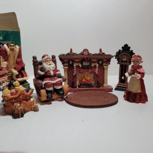 Trim A Home Six piece Hand Painted Christmas Scene (Rare) Display Santa Holiday