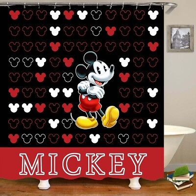 Mickey Mouse Waterproof Fabric Shower Curtain Bath Decor Curtain With Hooks -