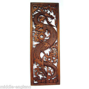 WOODEN DRAGON WALL HANGING PANEL 100CM SOLID SUAR WOOD HAND CARVED
