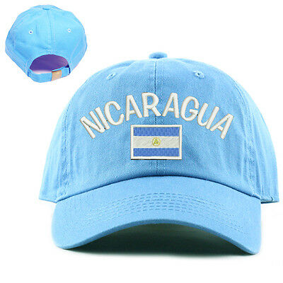 National Nicaragua Flag Hat 100% Cotton skyblue sky blue baby blue Baseball Cap Blue Sky Cotton Cap