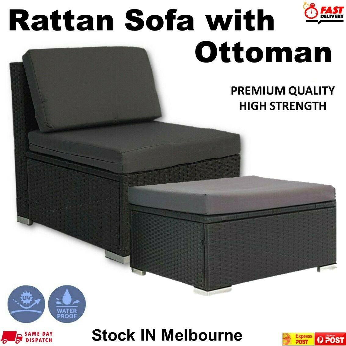 Garden Furniture - Outdoor Furniture Patio Rattan Middle Sofa & Ottoman Wicker Lounge Garden  Set