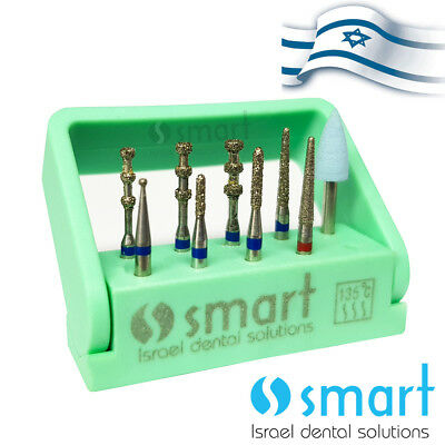 Dental Fg Diamond Burs Set Kit 9 Pcs Porcelain Veneer Preparation Autoclave Box
