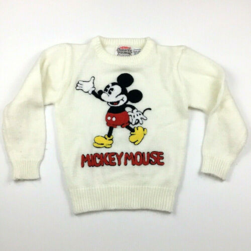 Vtg Mickey Mouse Walt Disney Character Fashions Knit Sweater Childrens Kids 5-6