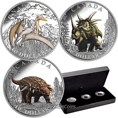 Canada 2016 Day Of Dinosaurs Complete 3 Coin Set  10 Silver Proofs In Case Box