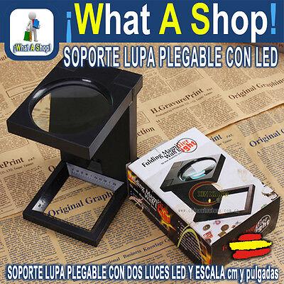 Lupa Lente Soporte Plegable Sobremesa Iluminación LED Lectura Trabajo GLASS WORK