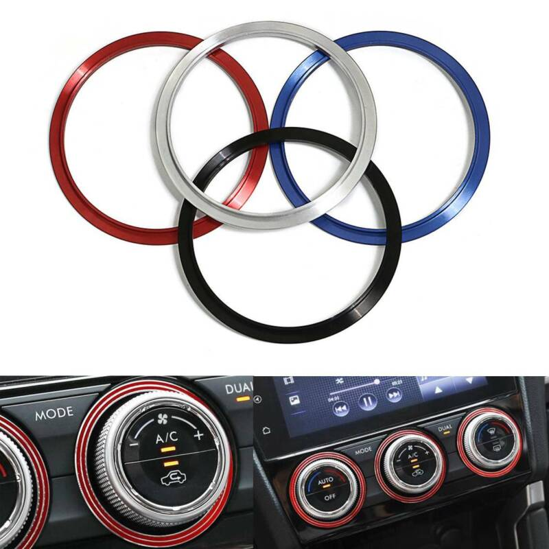 3X Red Aluminum AC Climate Control Outer Ring Covers For Subaru Impreza WRX//STi
