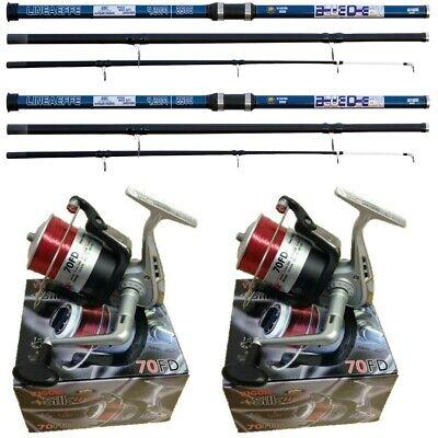 2 x 14FT Blue Beach caster Sea Fishing Rod + 2 SILK 70 Lineaffe Reels