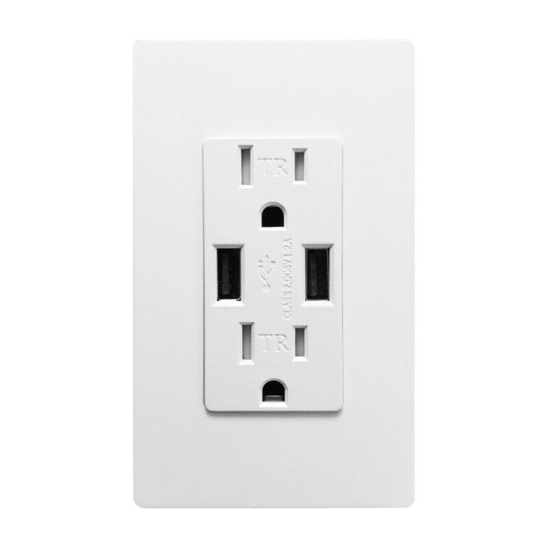 Outlet USB Fast Charger 4.2A Duplex Receptacle 15A Tamper Resistant UL Listed