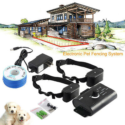 Upgrade Electric Dog Fence System Shock Collars for 2 Dogs