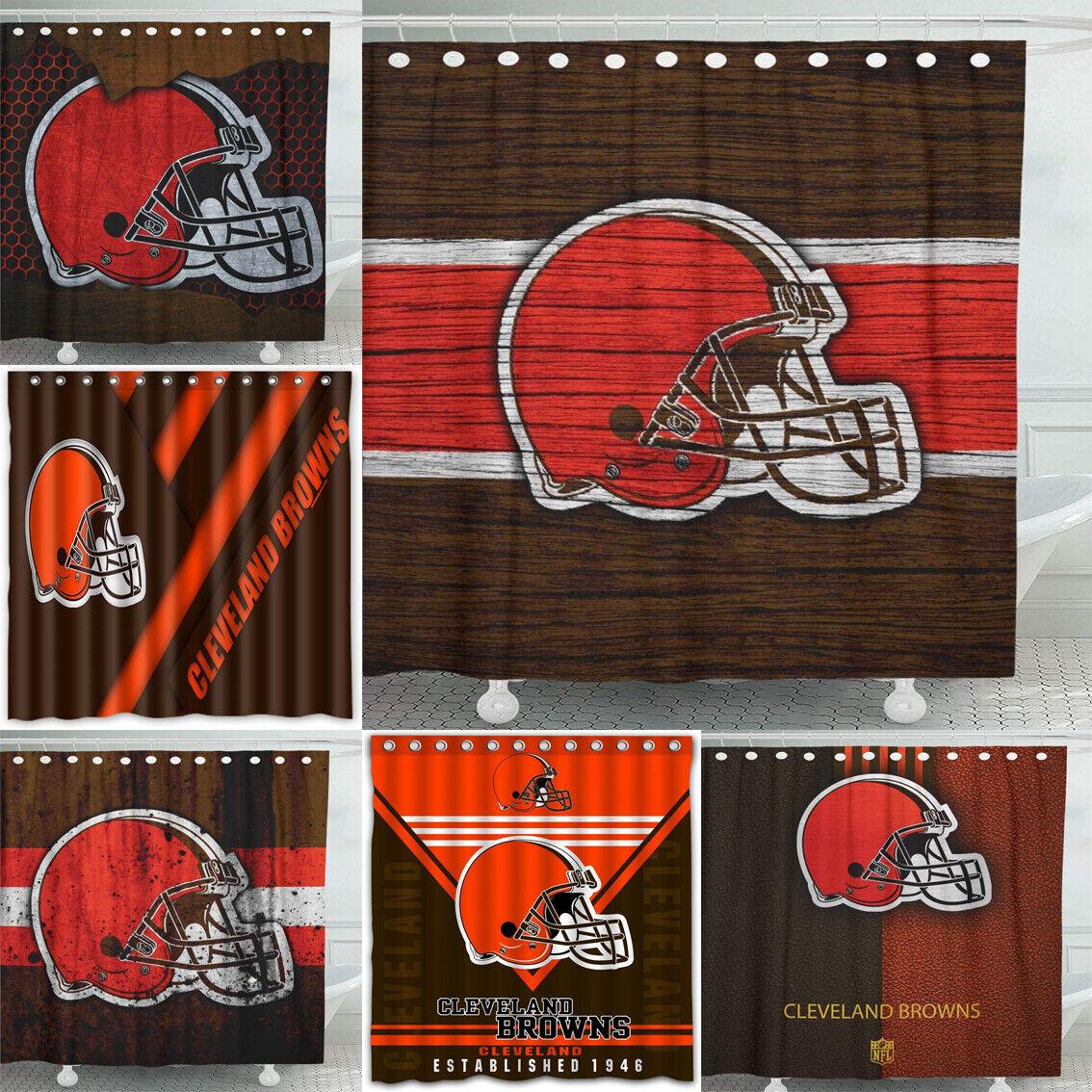 Cleveland Browns Team Design Waterproof Shower Curtain Bathr